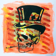 """Joker"" - painting acrylic, spray& ink on paper - 40x40cm - july 2014""skull & leaves""- painting / spray, pastels, acrylic, ink & charcoal on paper - 50x50cm / september 2014"