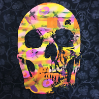 """skull & leaves"" - painting  ""skull & leaves""- painting / spray, pastels, acrylic, ink & charcoal on paper - 50x50cm / september 2014"
